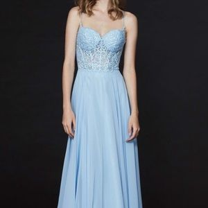 Angela & Alison Corset Long Prom Dress